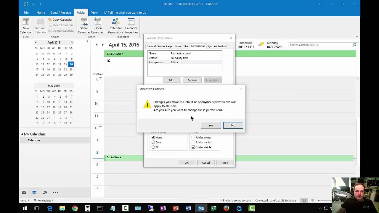 How To Change Calendar Permissions In Outlook 2016 Youtube