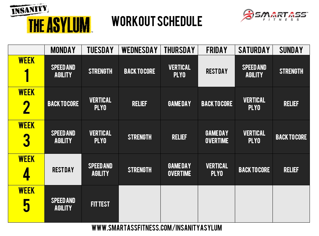 Insanity Asylum Calendar Fit Pinterest Workout Insanity
