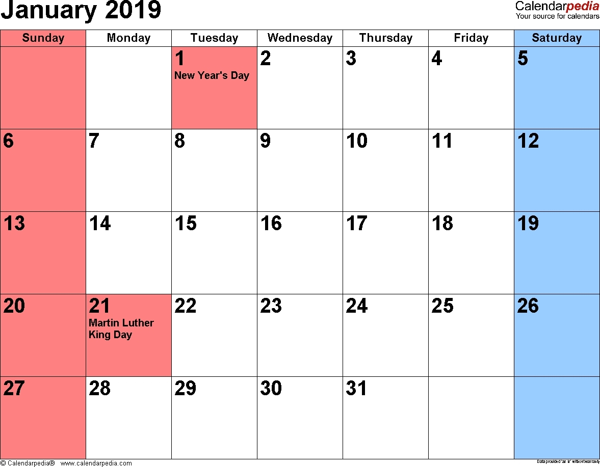 January 2019 Calendar Events Printable Calendar 2019 Calendar