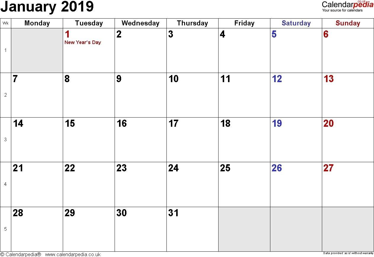 January 2019 Calendar Singapore January 2019 Calendar Printable