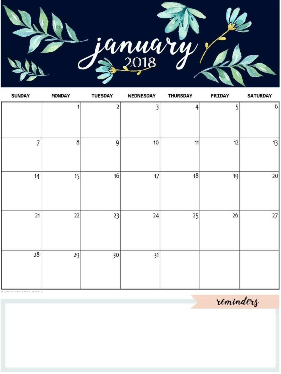 January 2019 Calendar Template Daily Work In Design January