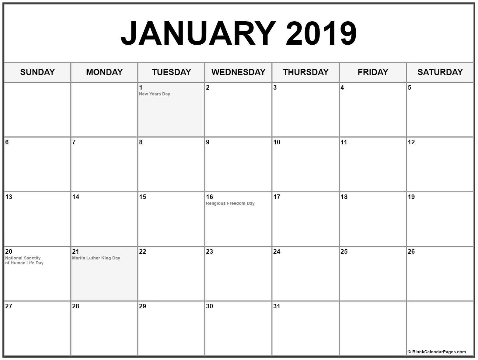 January 2019 Calendar With Holidays Printable Calendar