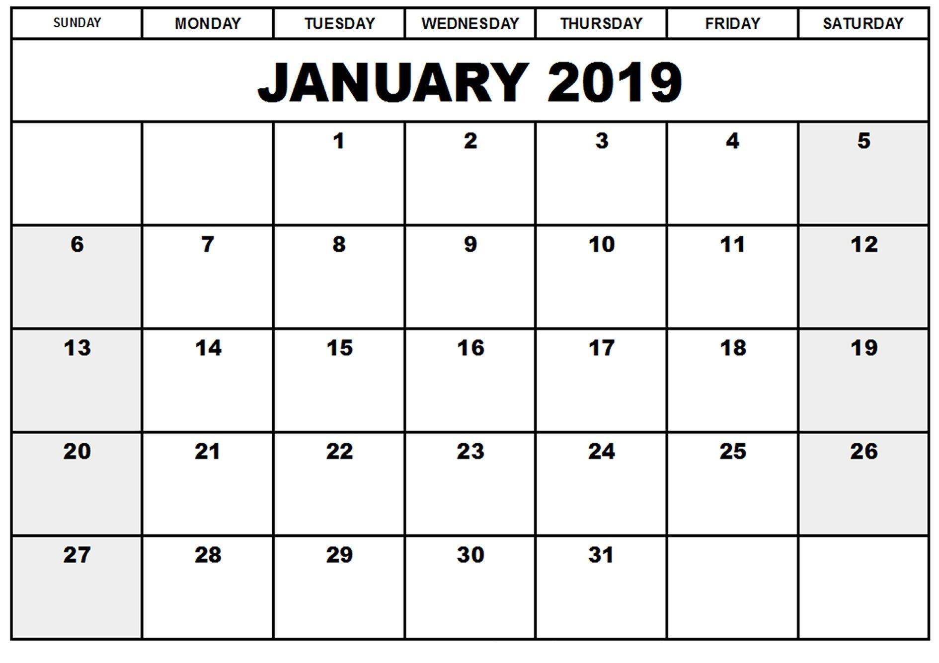 2019 january calendar word document