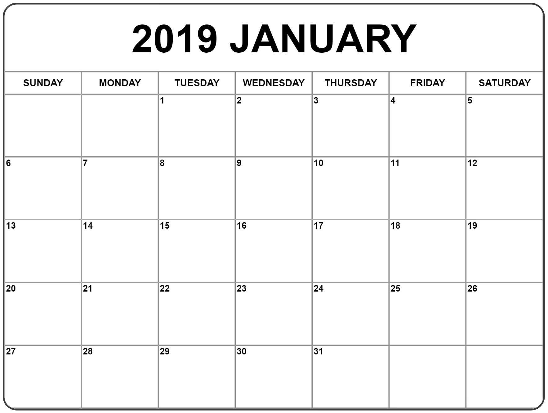 January Calendar 2019 Printable With Holidays Word Free Printable