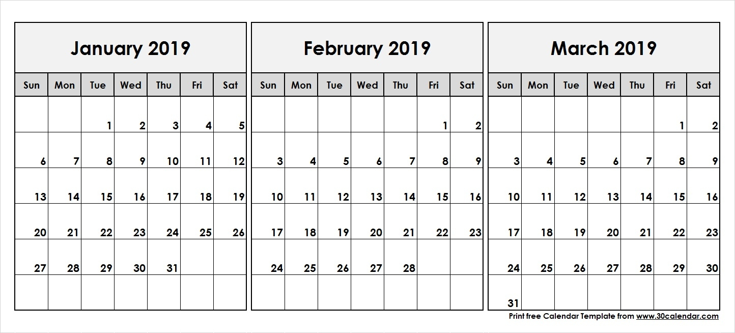 January February March 2019 Printable Calendar 30 Day Calendar