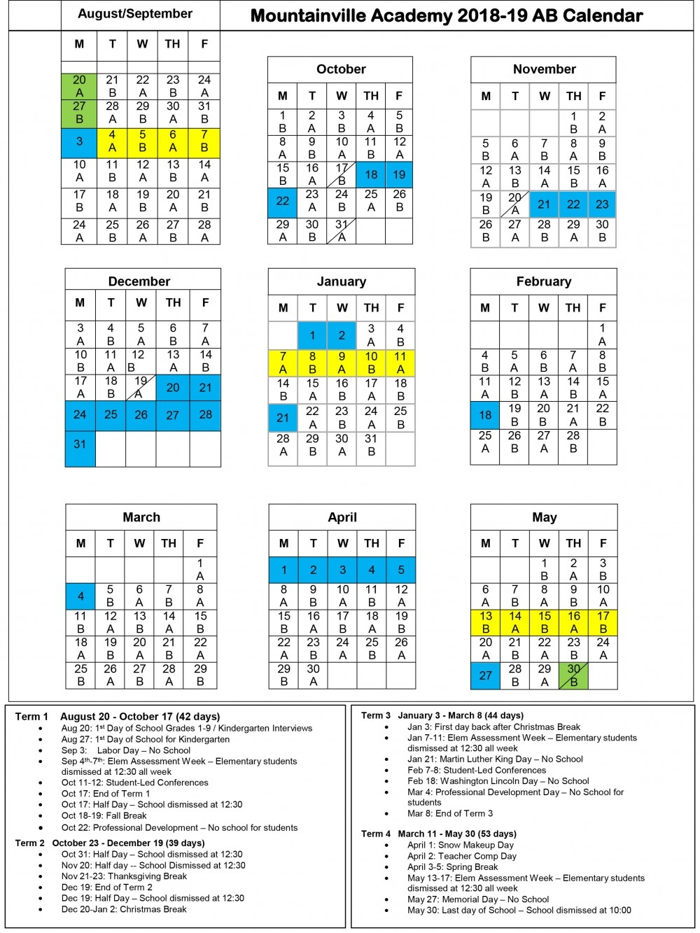 Mountainville Academy Yearly Calendar