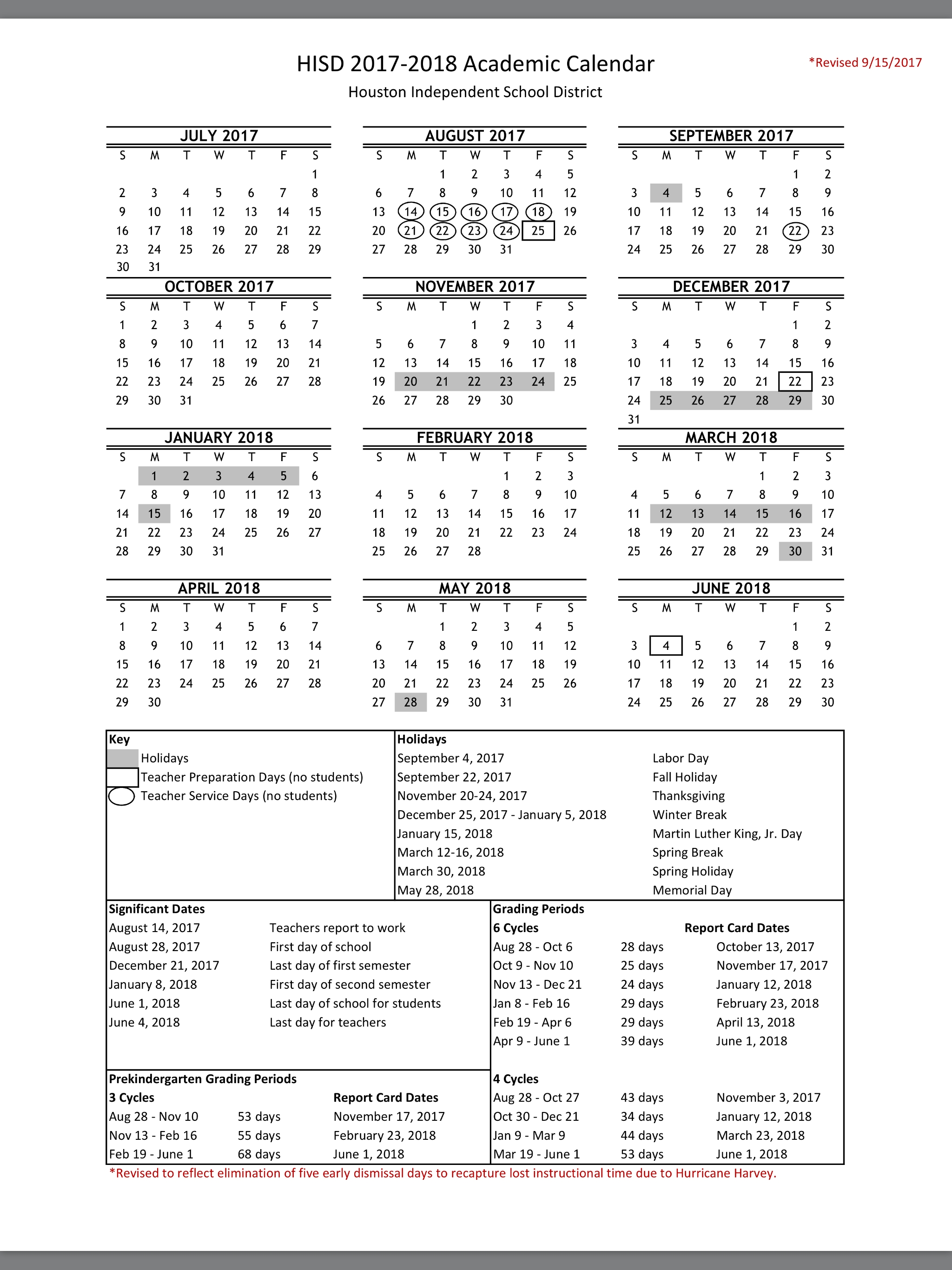 No More Early Dismissal Days Heres The New Hisd 2017 18 Calendar