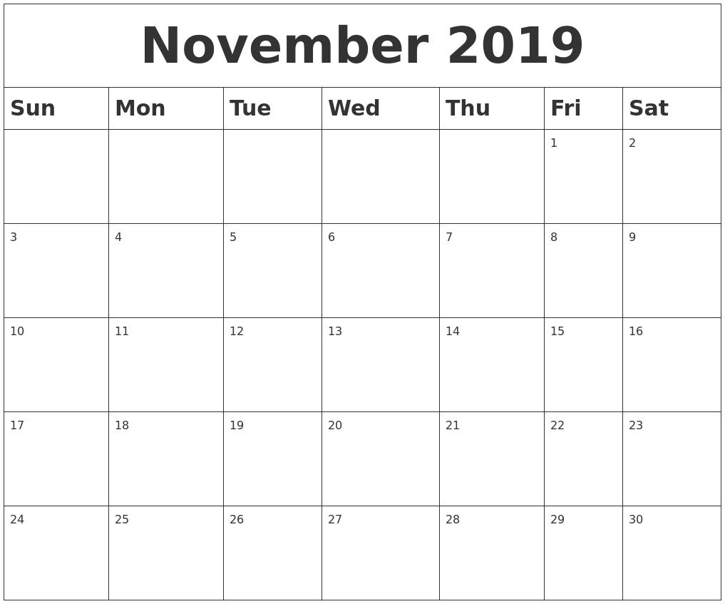 November 2019 Blank Calendar