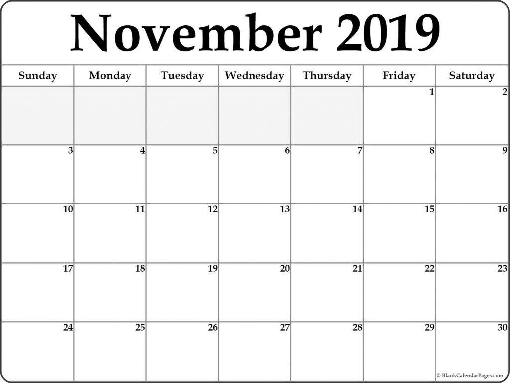 November 2019 Printable Calendar Printable Weekly Calendar