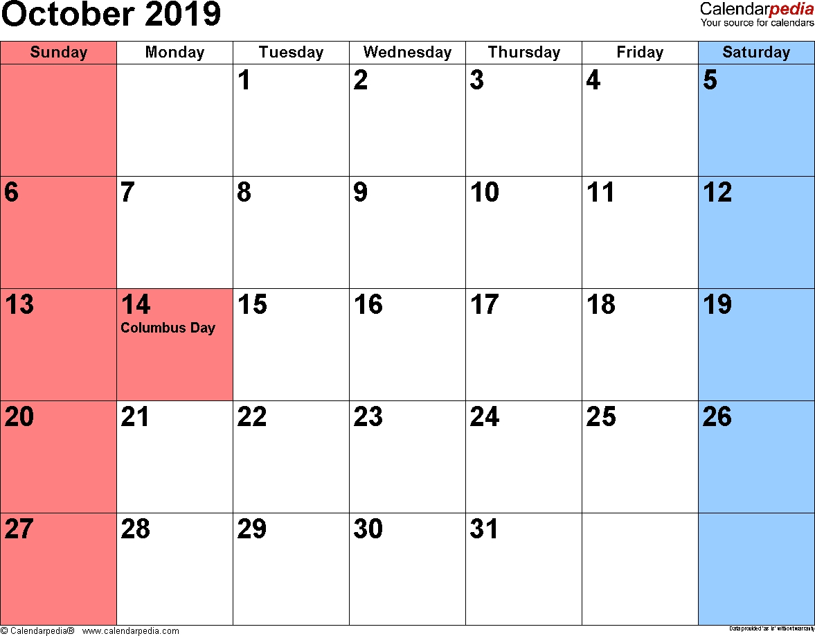 October 2019 Calendars For Word Excel Pdf