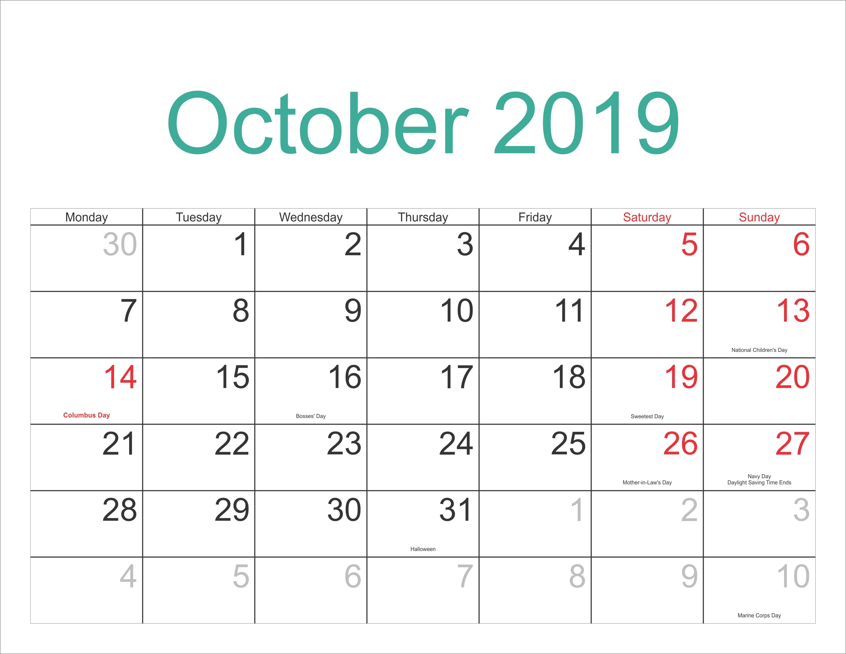 October 2019 Chinese Calendar October 2018 Printable Calendar