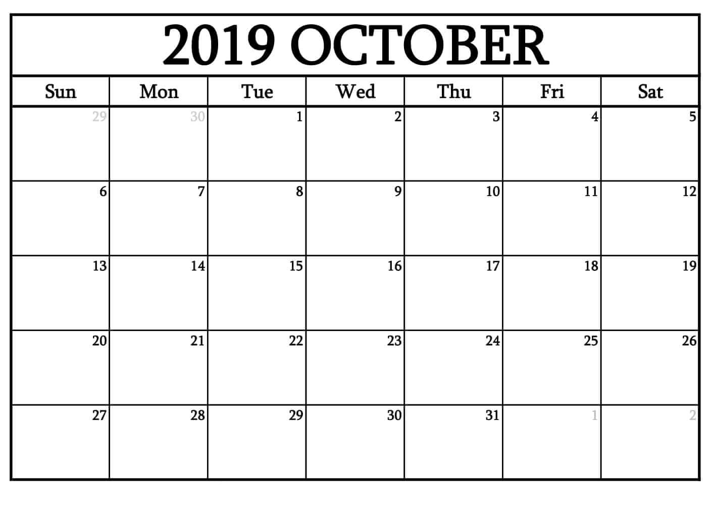 October 2019 German Calendar October 2018 Printable Calendar