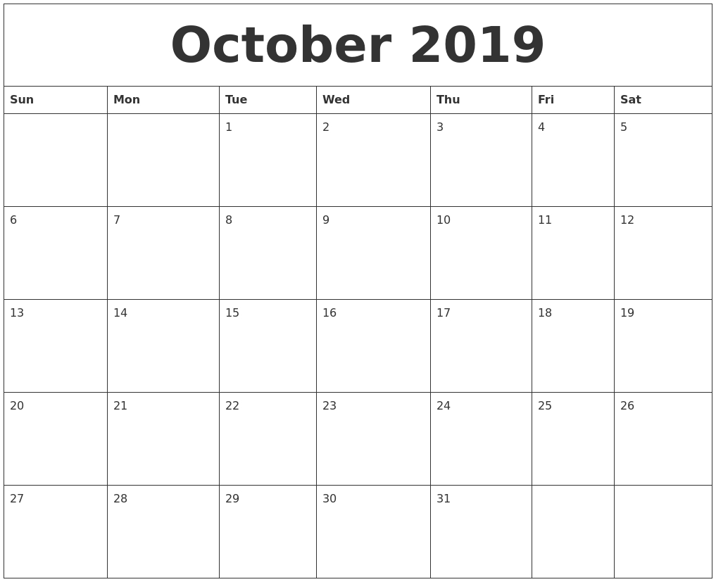 October 2019 Printable Calendar Free