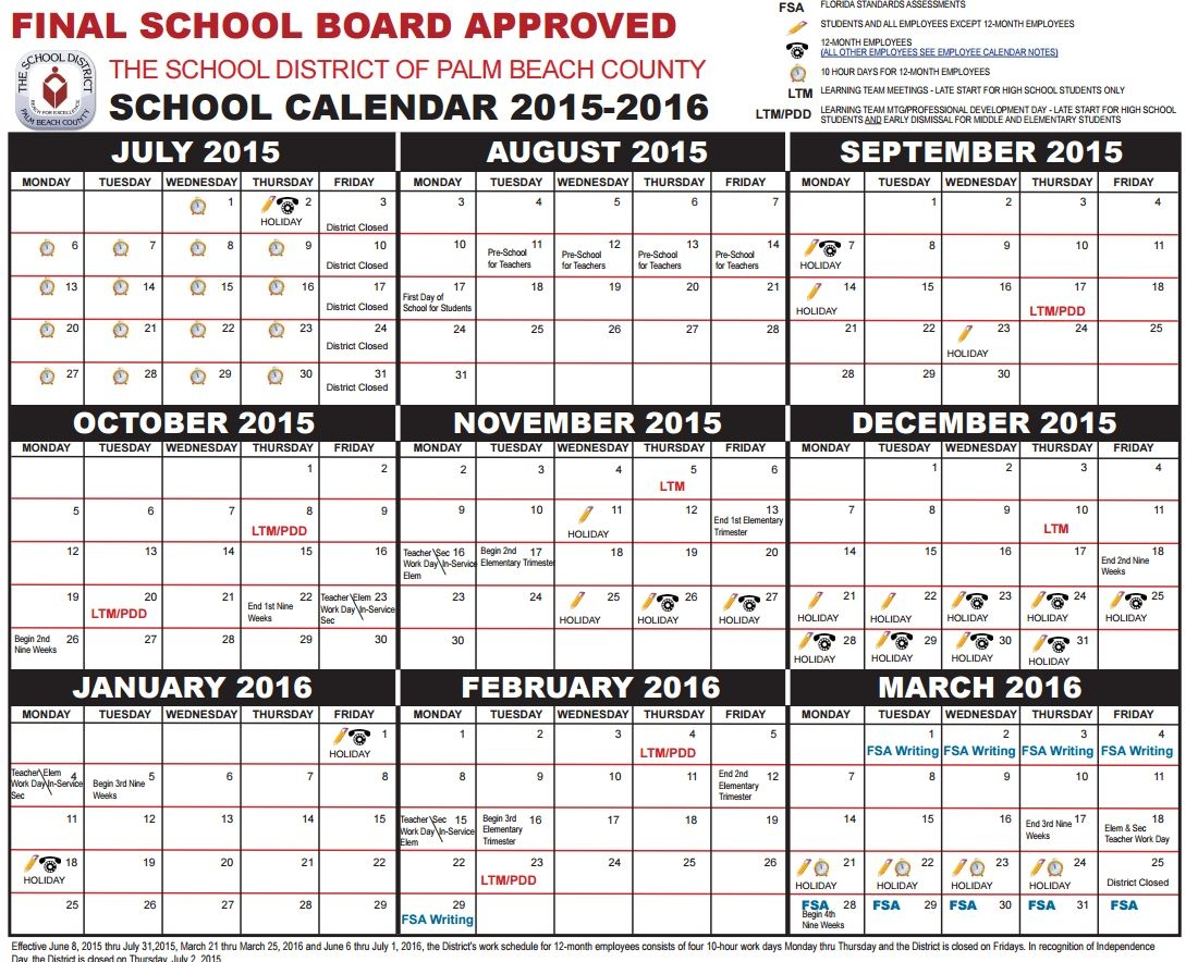 Parents Get Your Palm Beach County School Calendar For 2015 2016