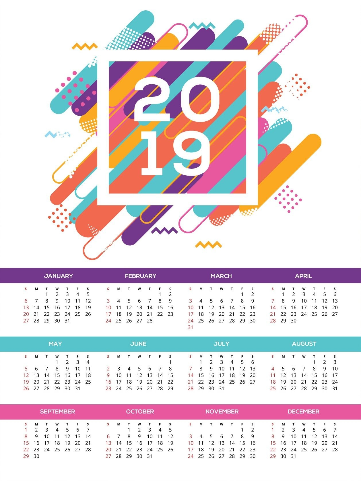 Printable 2019 Hd Wall Calendar Monthly Calendar Templates