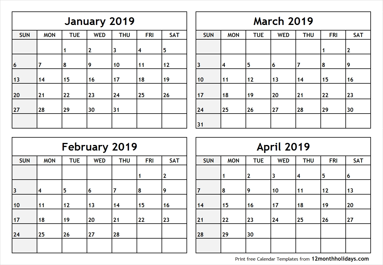 Printable Blank Four Month January February March April 2019 Calendar