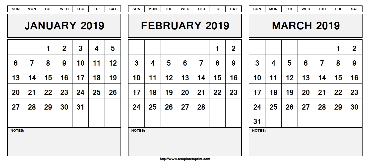 Printable January February March 2019 Calendar With Notes Template
