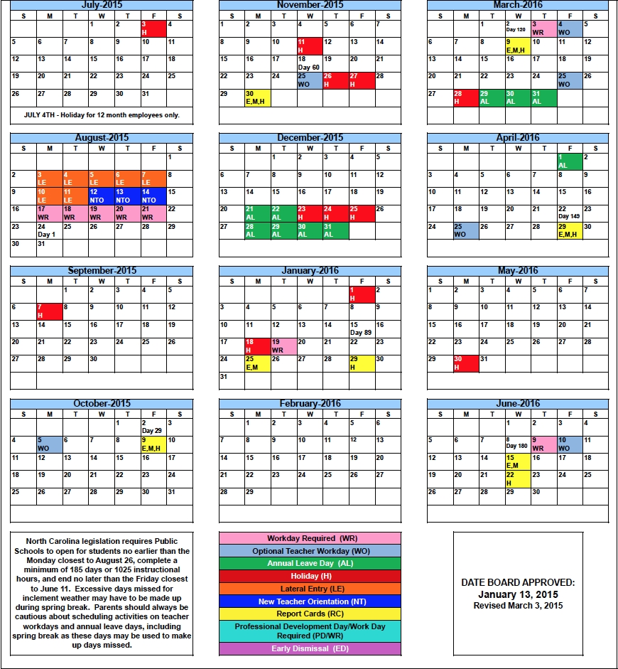 Rcs 2015 16 School Calendar Rutherfordton Elementary School