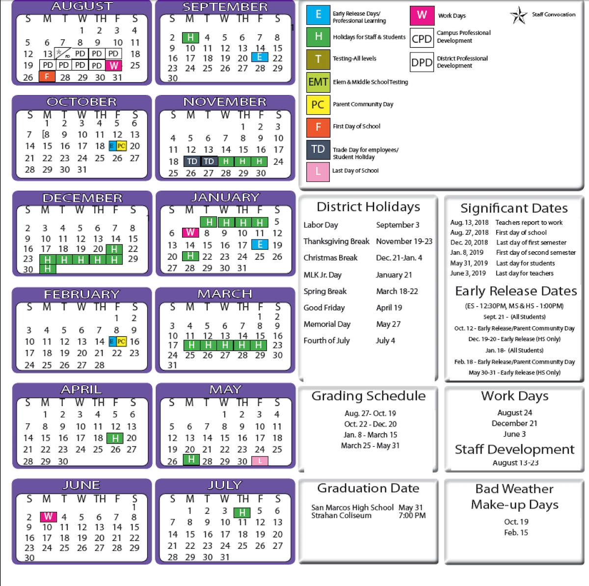 San Marcos Cisd Trustees Approve 2018 19 School Calendar Community