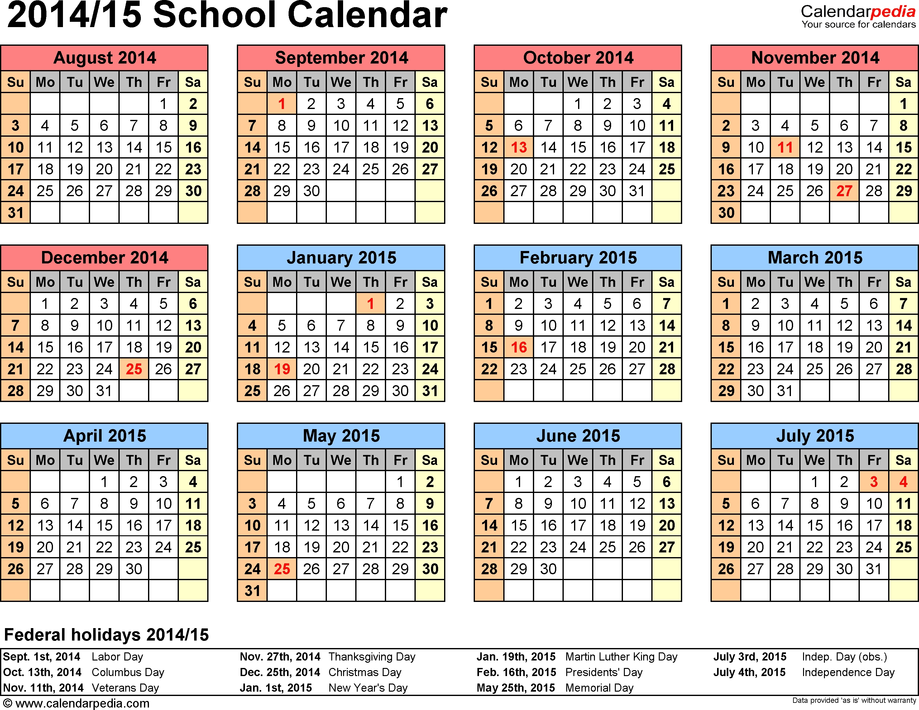 School Calendars 20142015 As Free Printable Word Templates