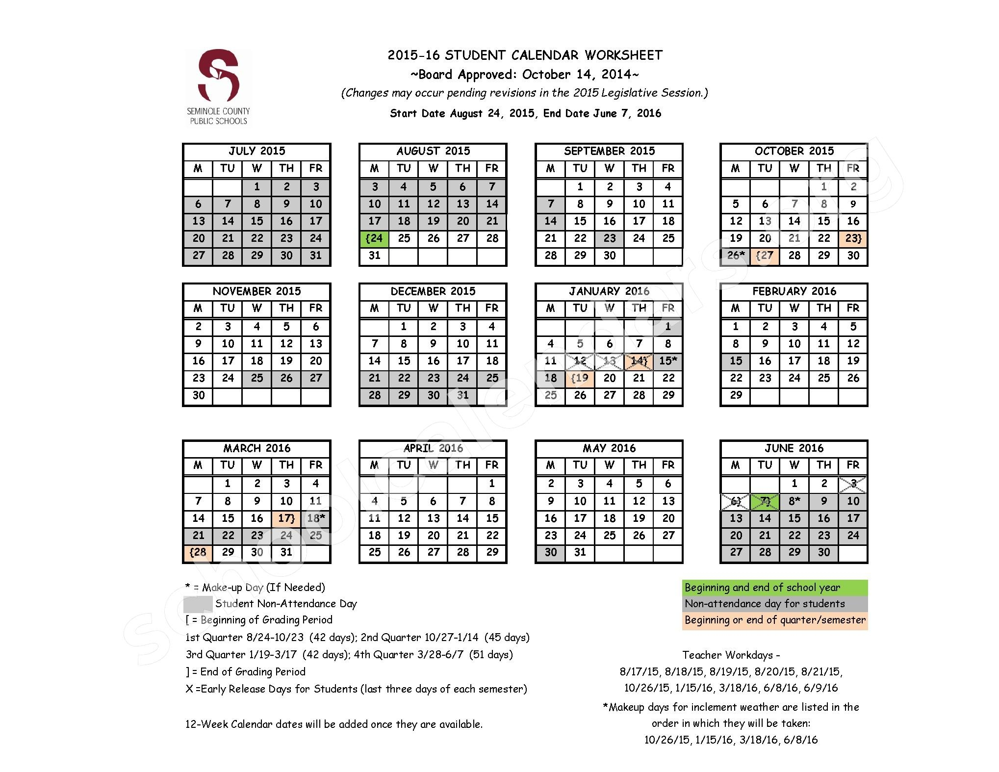 Seminole County School Calendar 2016 2017