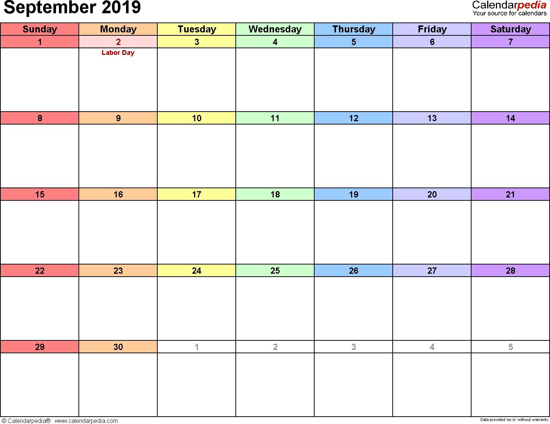 September 2019 Calendars For Word Excel Pdf