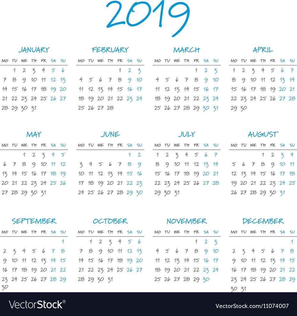 Simple 2019 Year Calendar Royalty Free Vector Image