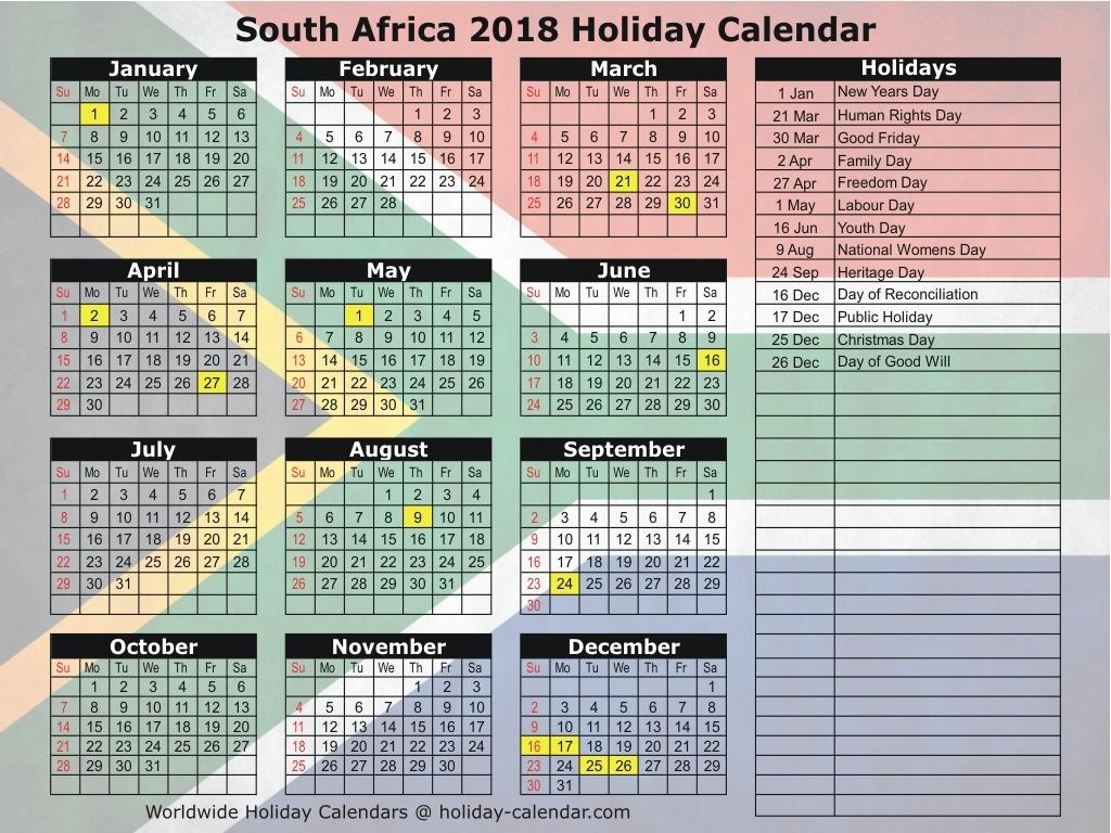 South Africa 2018 2019 Holiday Calendar