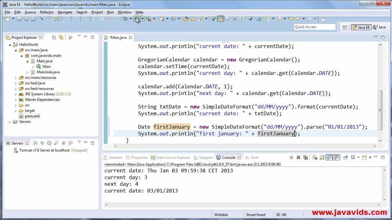Using Date Calendar And Simpledateformat In Java Javavids Youtube