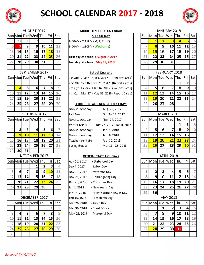 Volusia County School Calendar 2017 2018 While Most Students Are