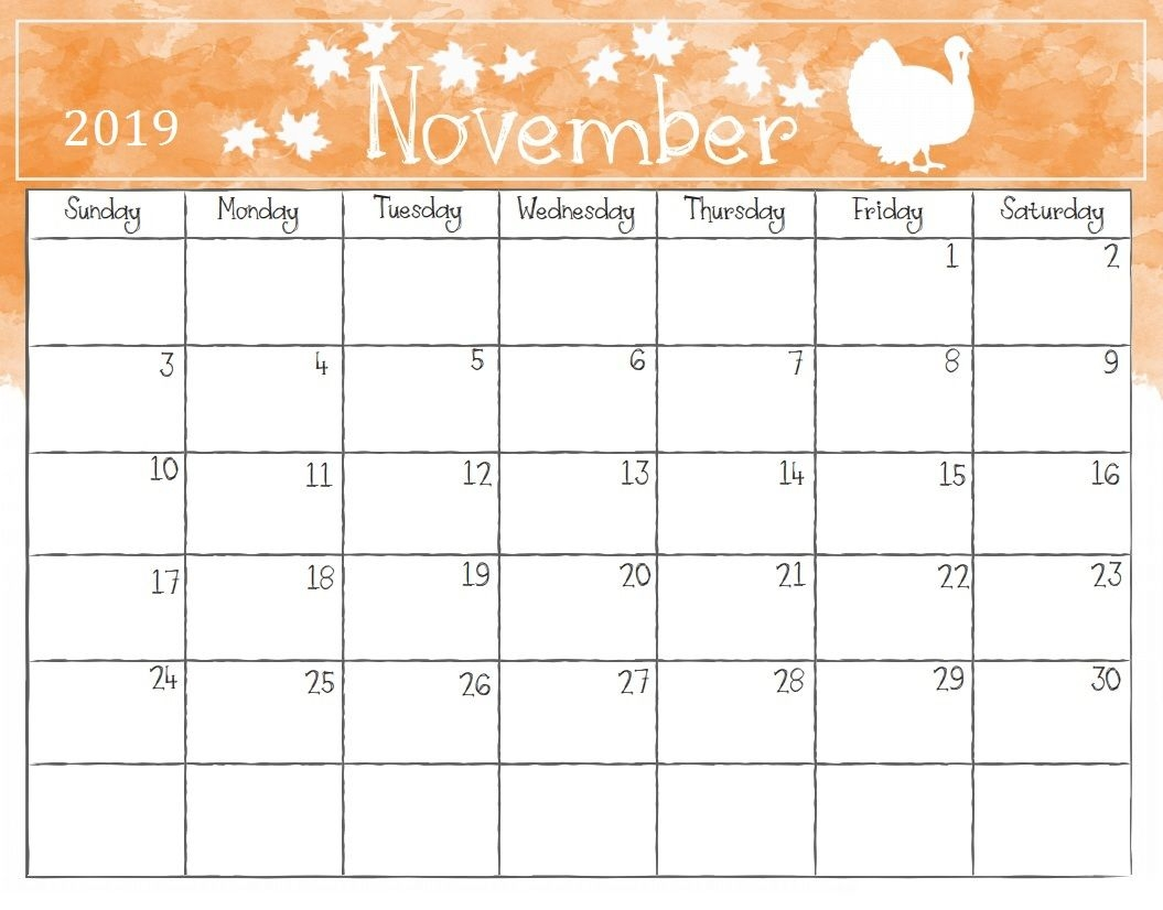 Watercolor November 2019 Calendar Calendar 2018 Pinterest