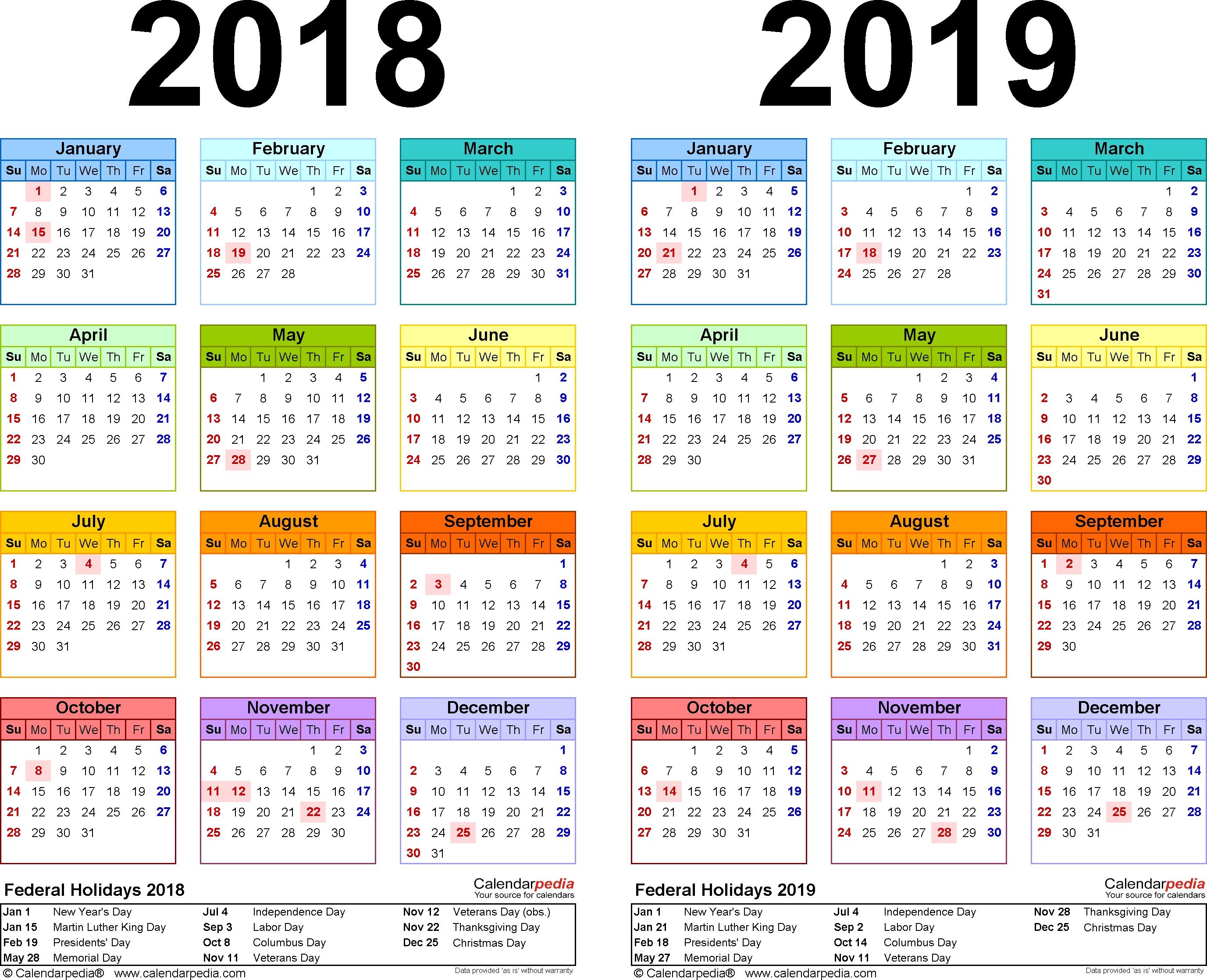 2018 2019 Calendar Free Printable Two Year Pdf Calendars