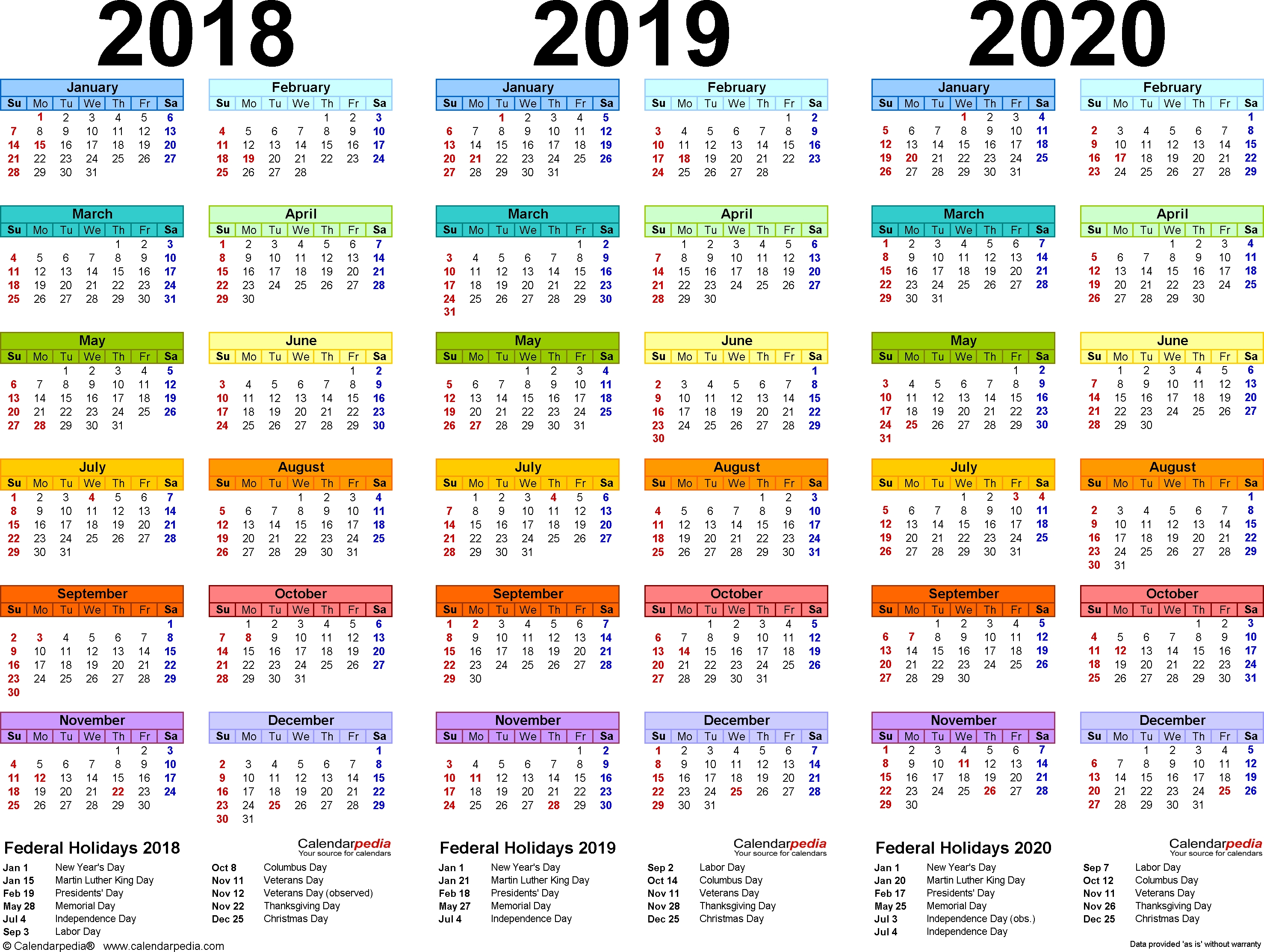 201820192020 Calendar 4 Three Year Printable Pdf Calendars