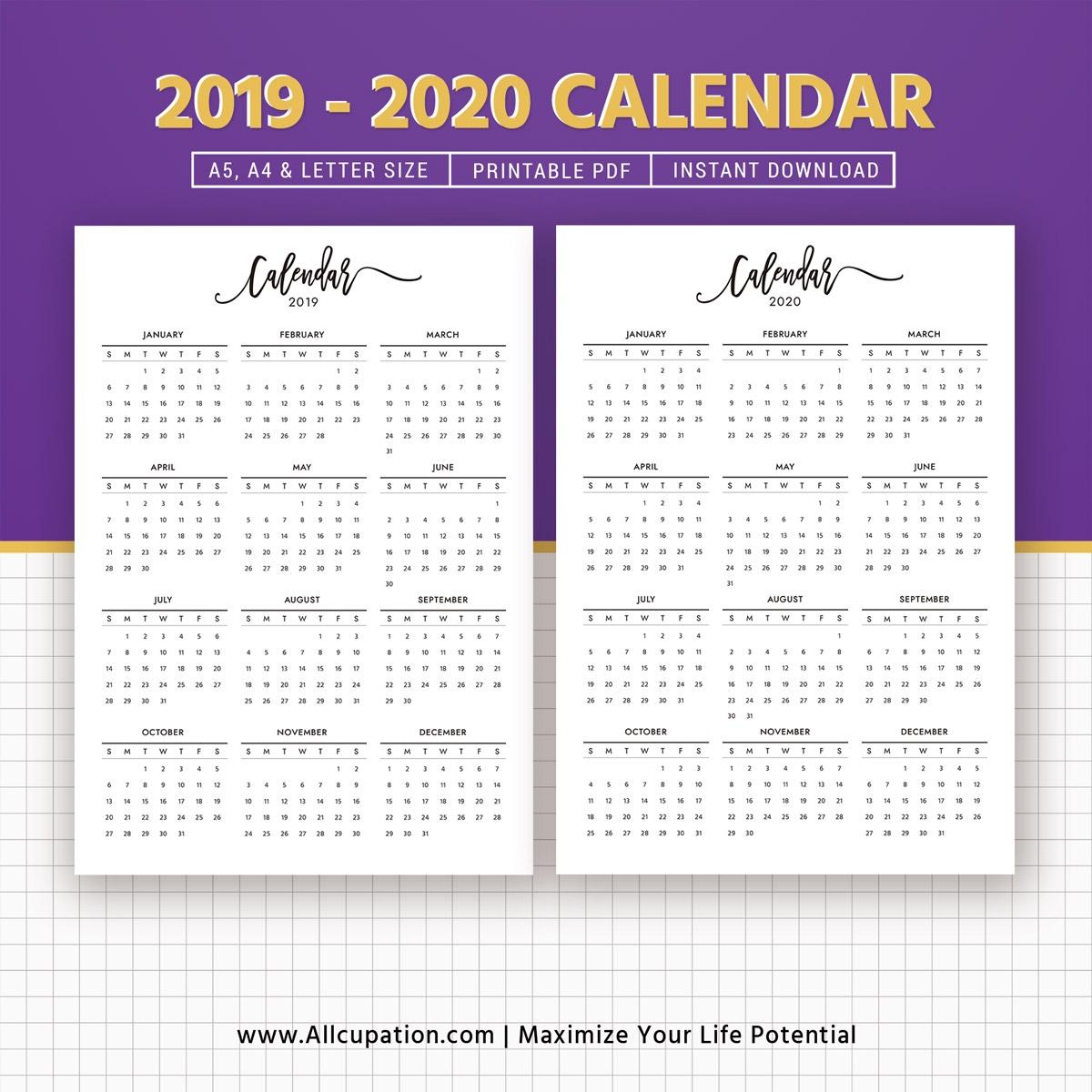 2019 2020 Calendar Printable Calendar Planner Design Best Planner