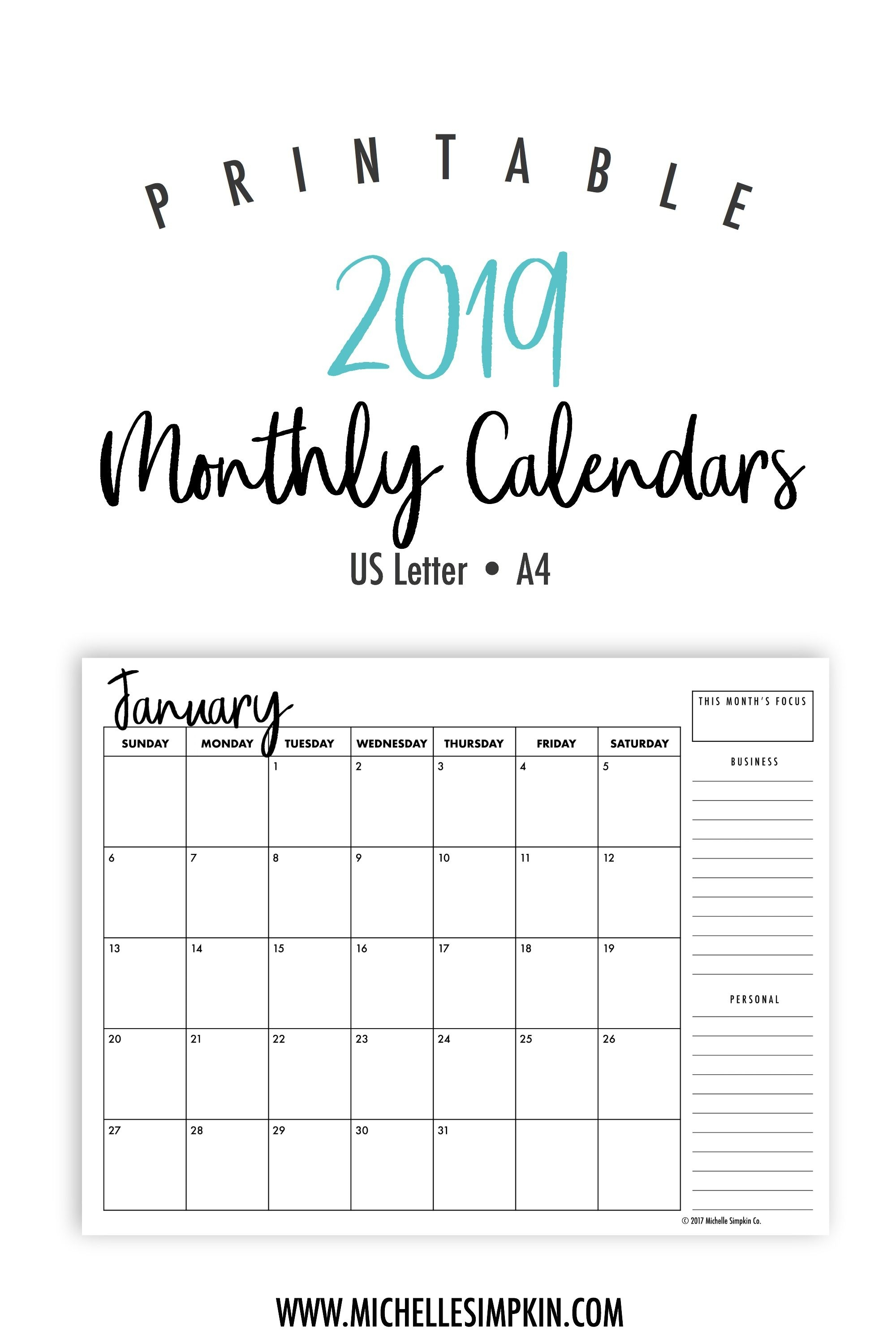 2019 Printable Calendars Plan Out Next Year With These Ink