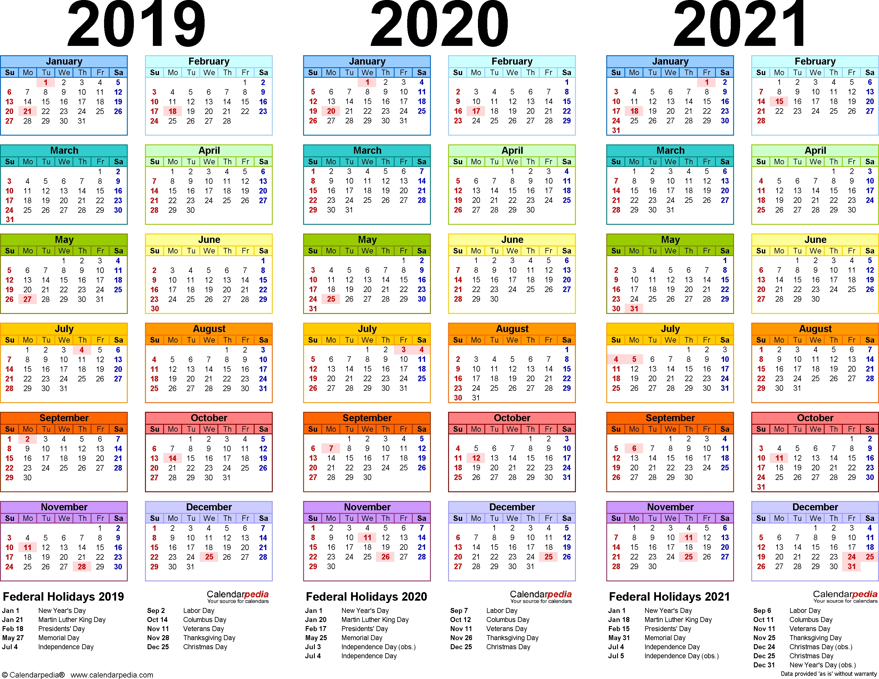 201920202021 Calendar 4 Three Year Printable Pdf Calendars