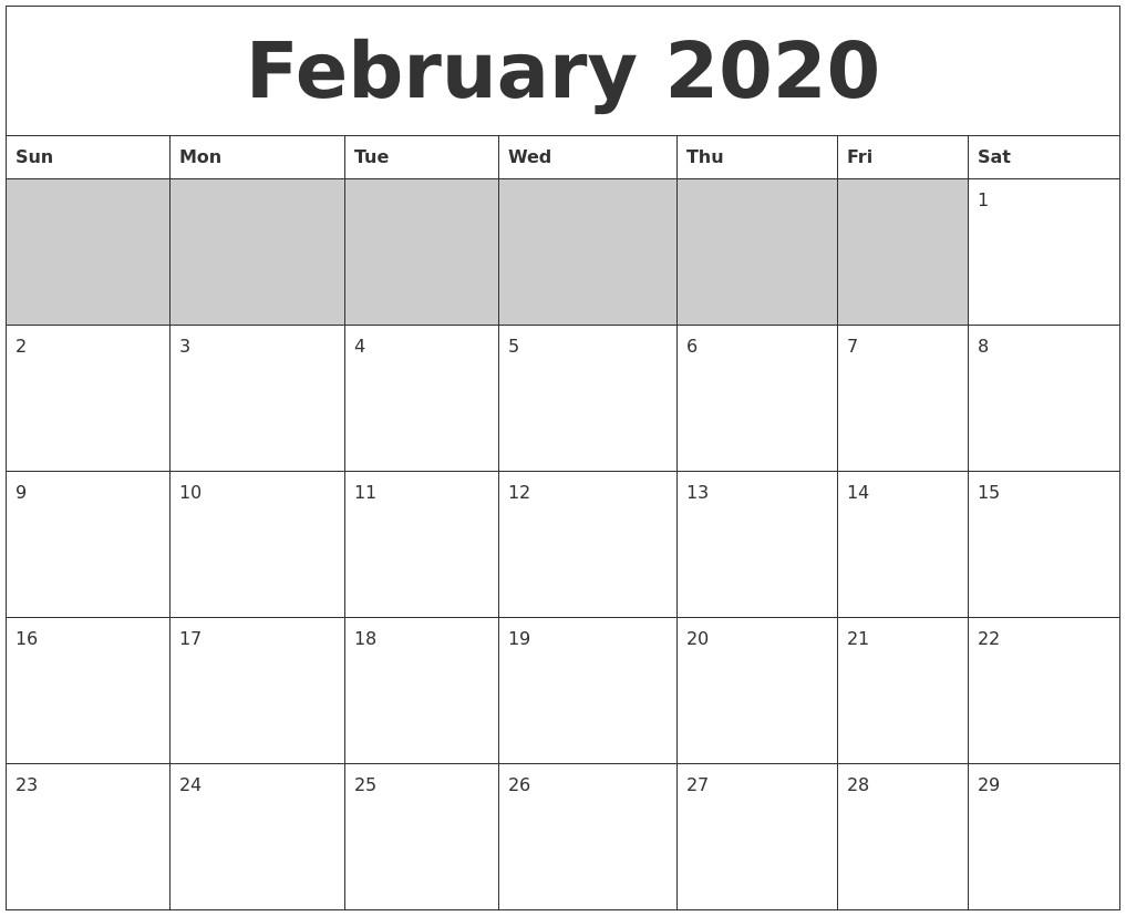 2020 Blank Printable Calendar February 2020 Blank Printable Calendar