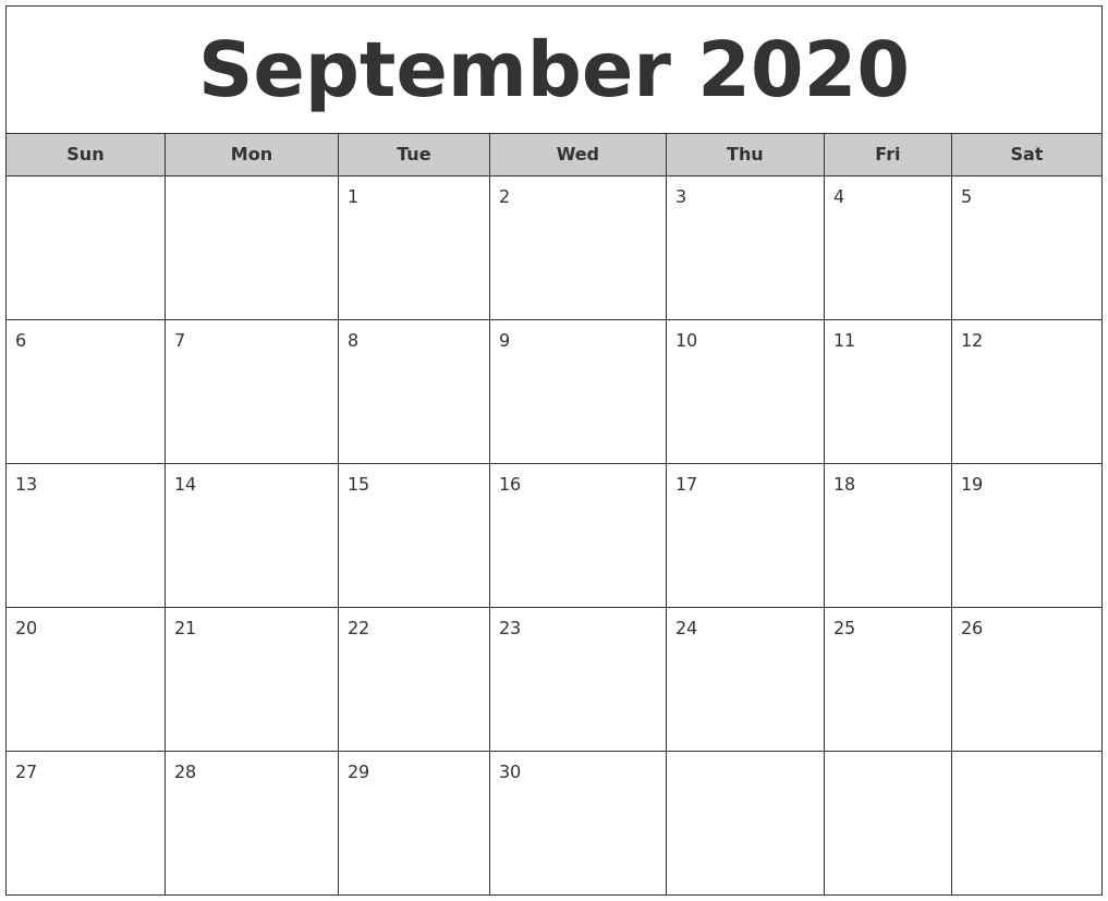 2020 Printable Calendar Month August 2020 Monthly Calendar