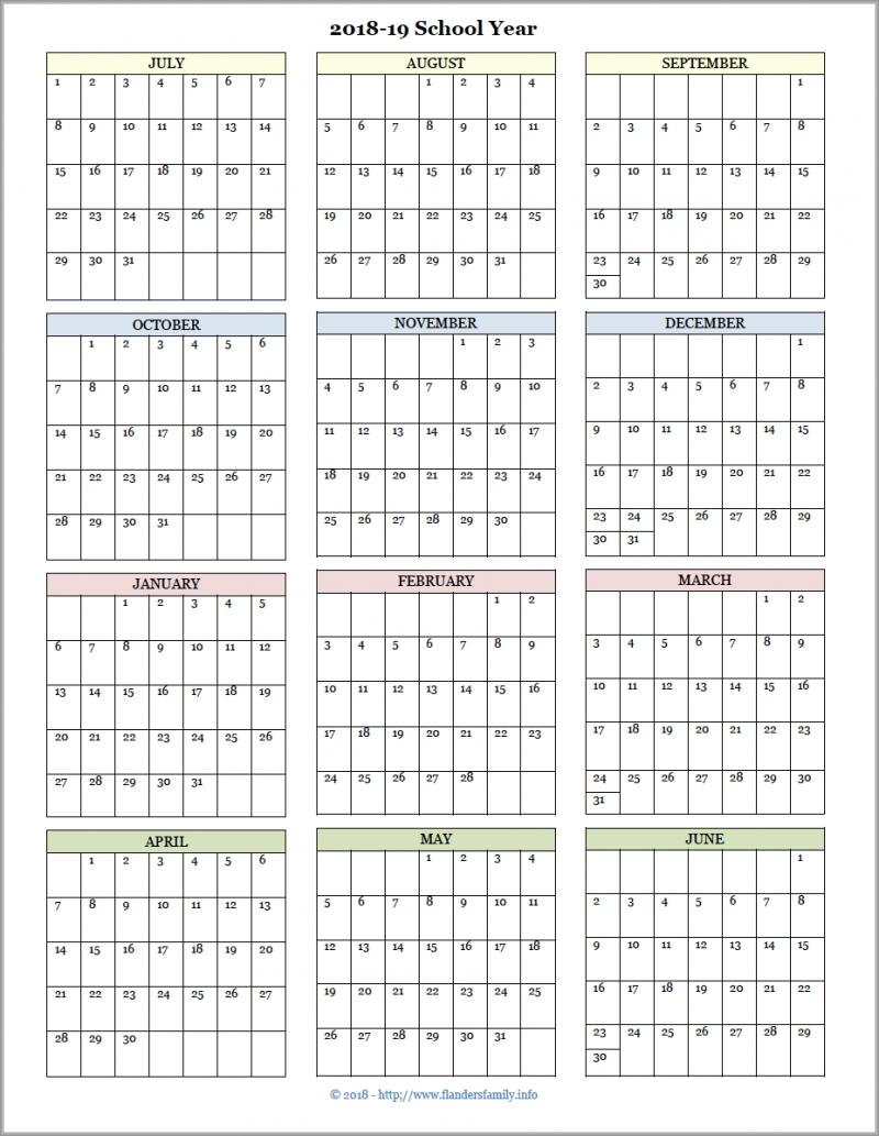 Academic Calendars For 2018 19 School Year Free Printable School