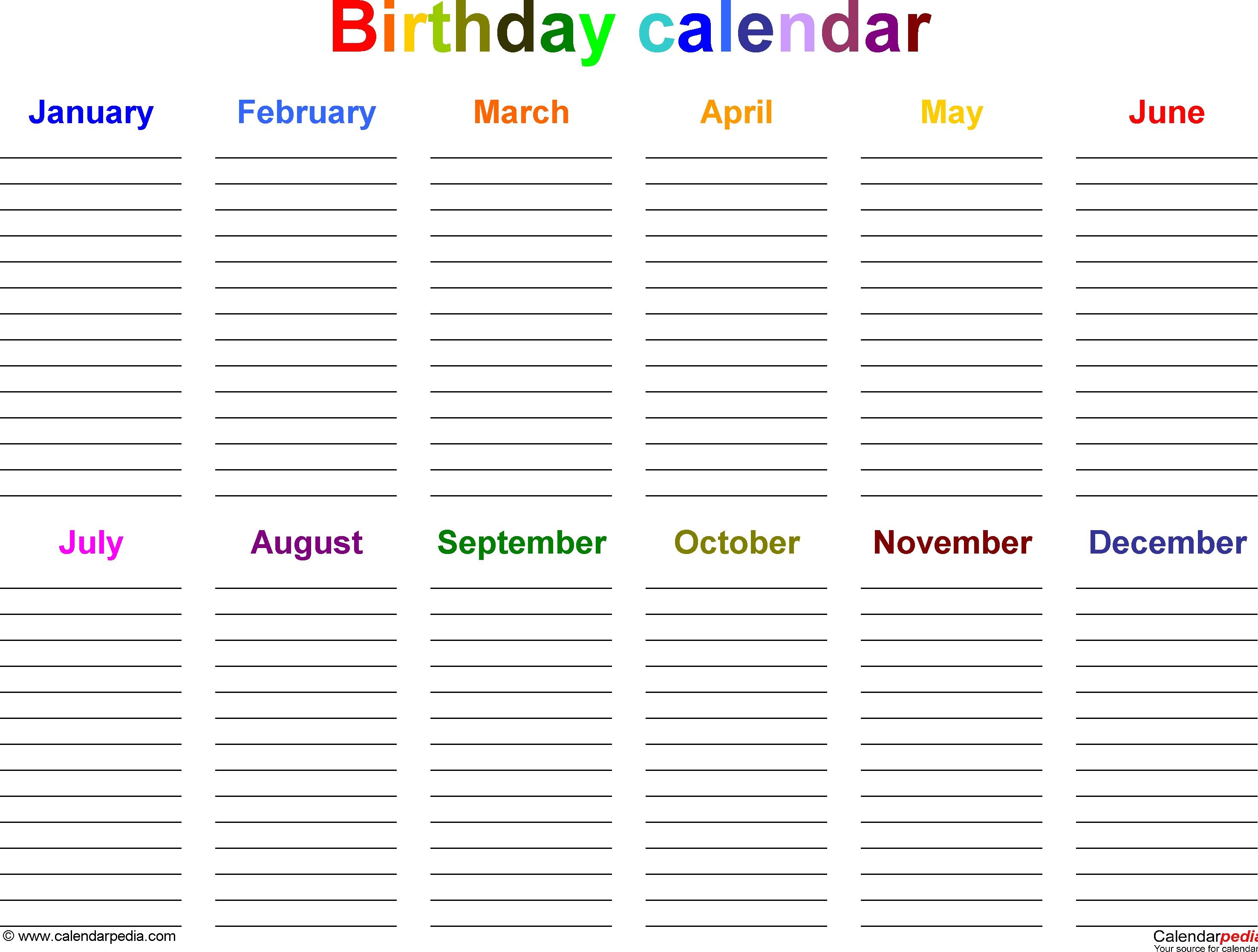 Birthday Calendars 7 Free Printable Word Templates