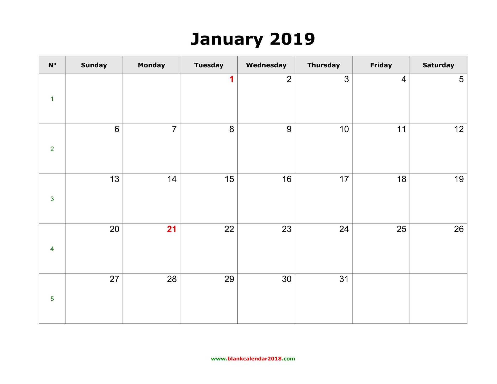 Blank Calendar For January 2019