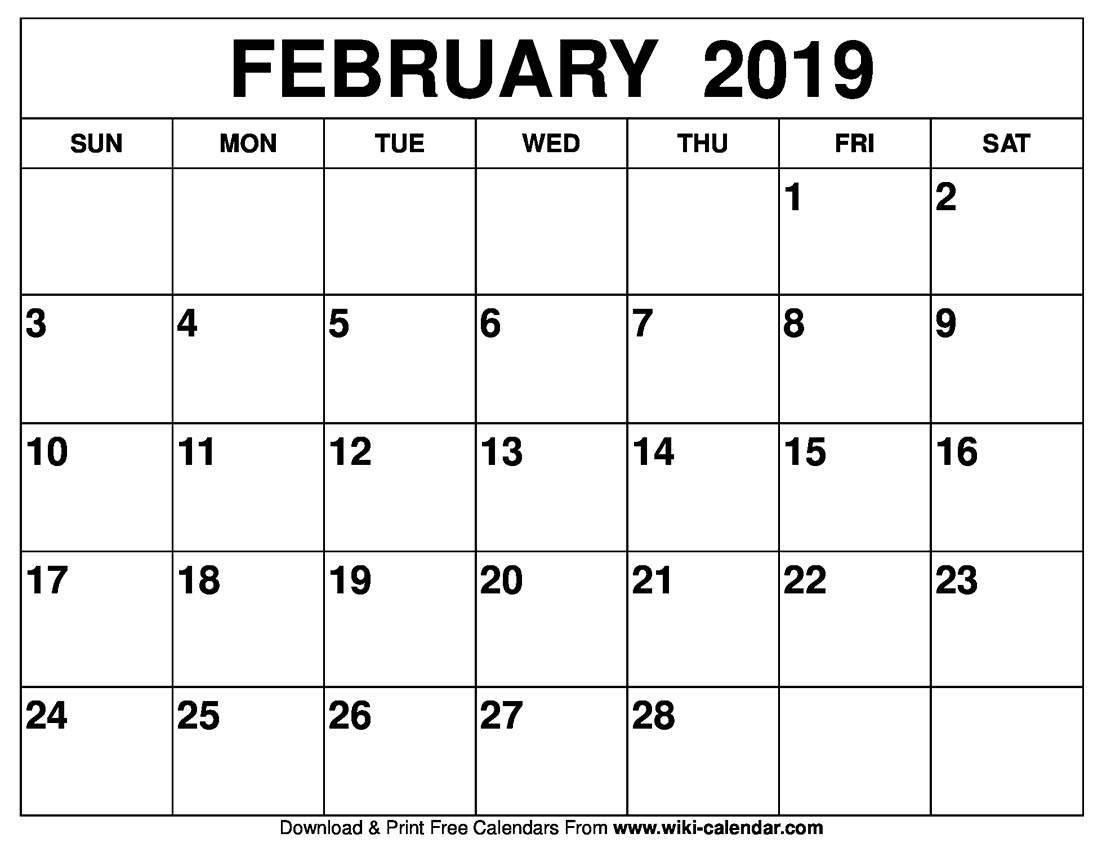 Blank February 2019 Calendar Printable