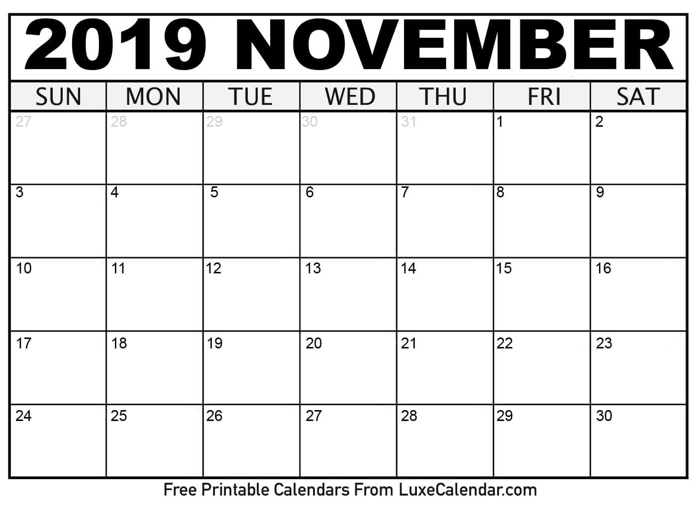 Blank November 2019 Printable Calendar Luxe Calendar