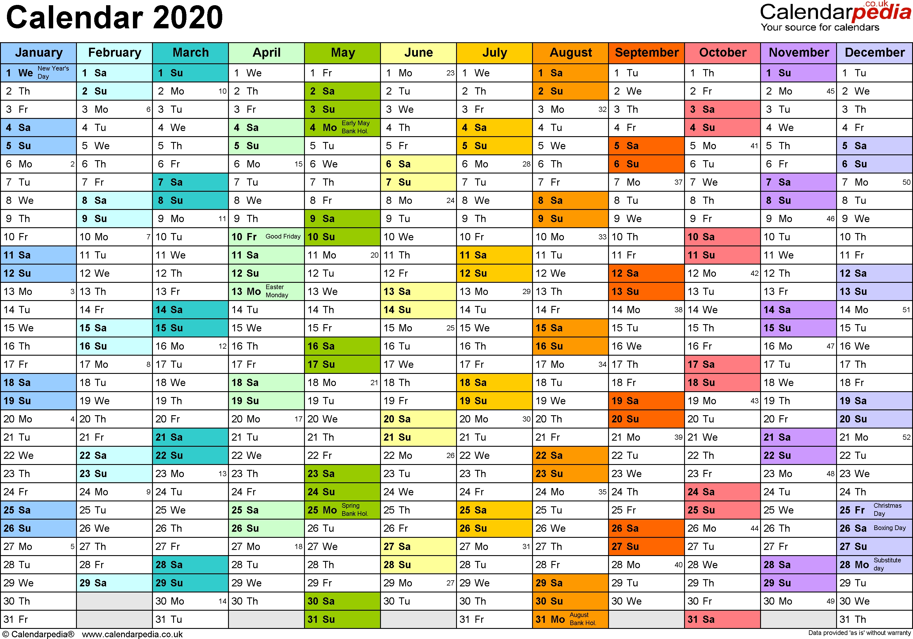 Calendar 2020 Uk 16 Free Printable Pdf Templates