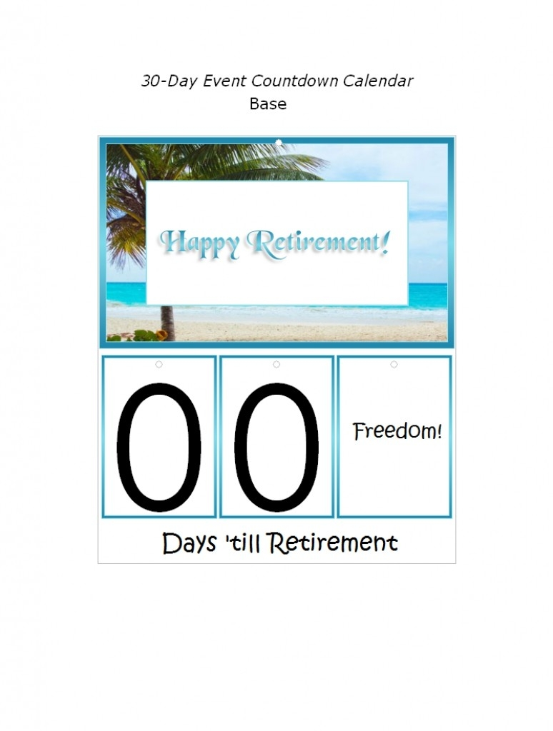 Countdown To Retirement Calendar Printable 5 Year Printable