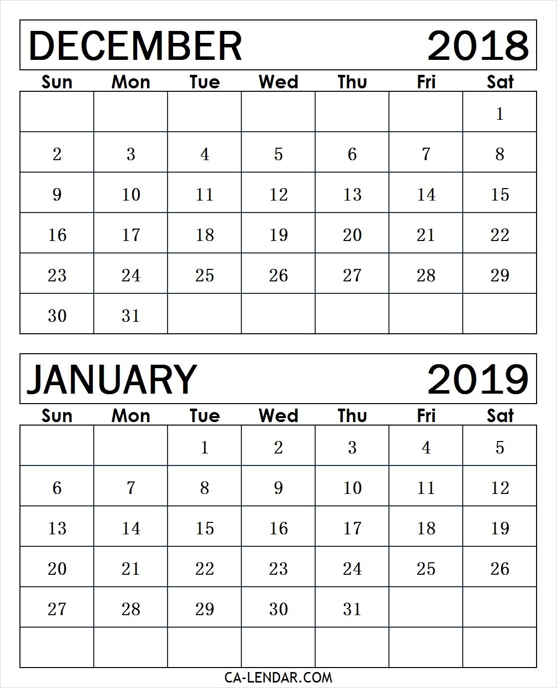 December 2018 January 2019 Calendar Template Calendar Printable