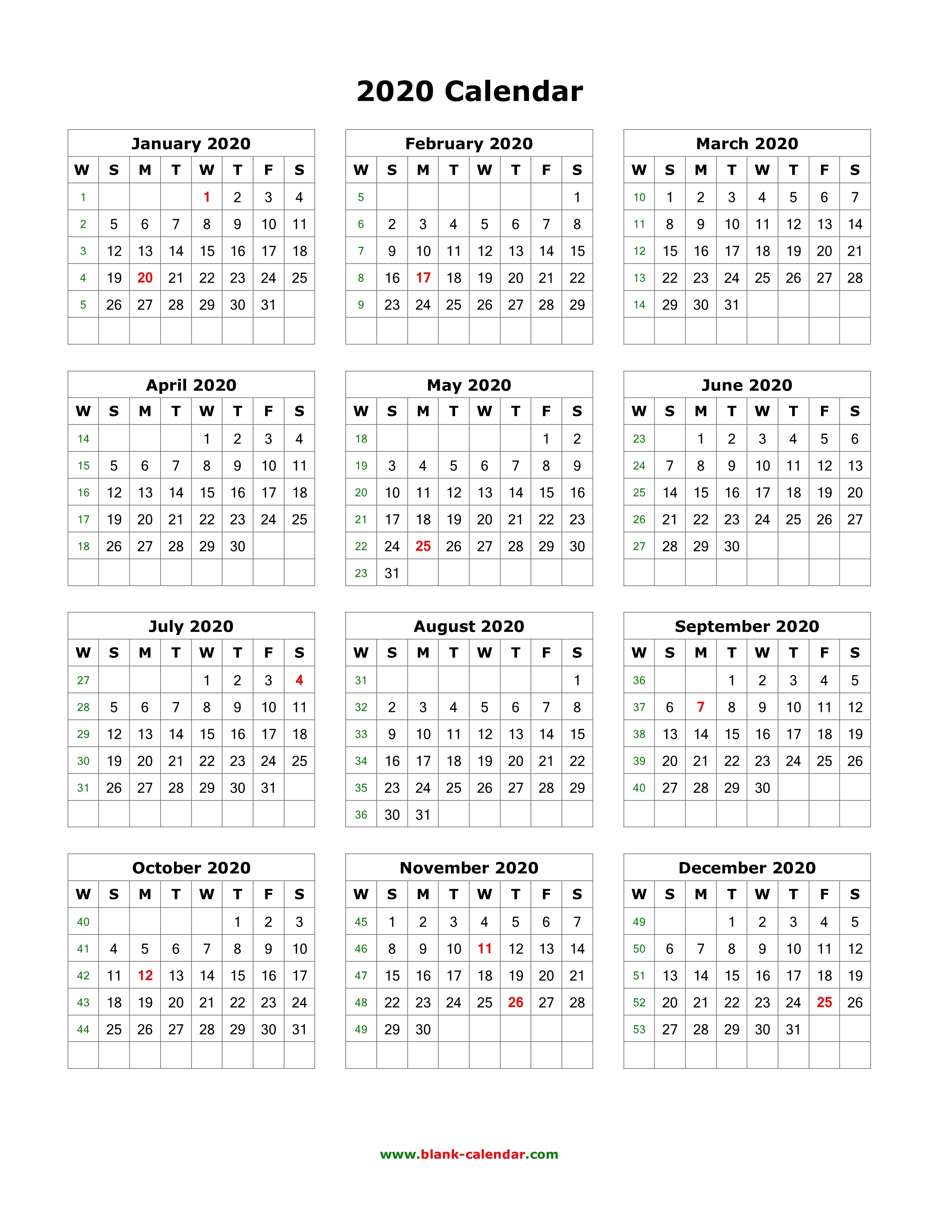 Download Blank Calendar 2020 12 Months On One Page Vertical