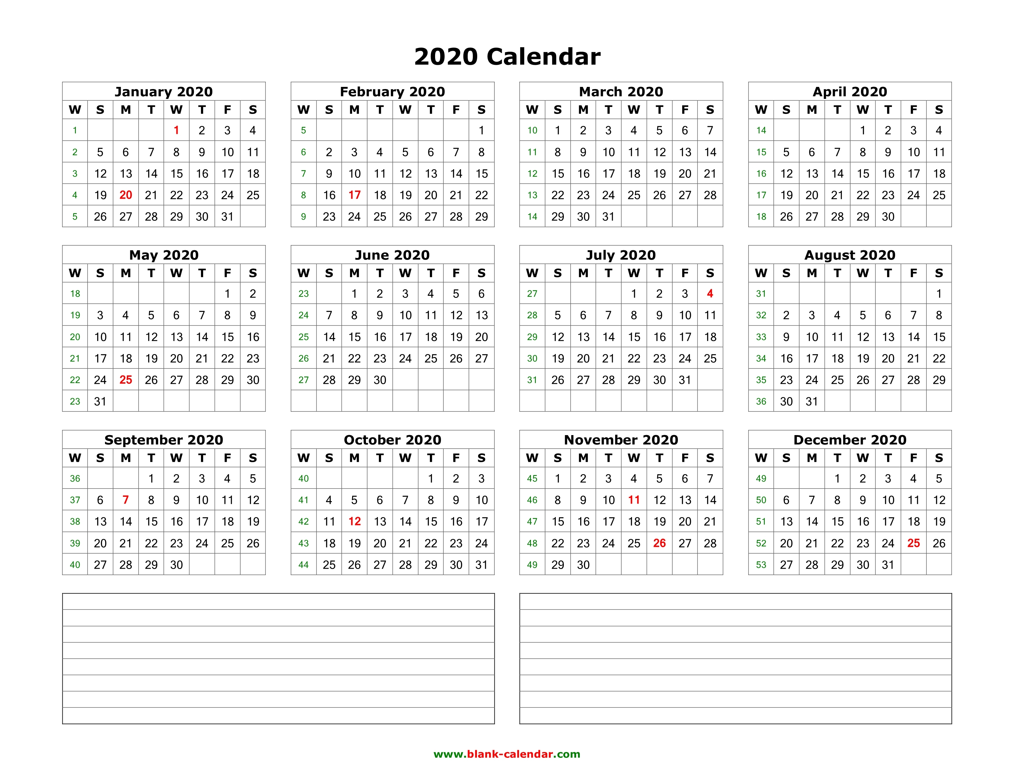 Download Blank Calendar 2020 With Space For Notes 12 Months On One