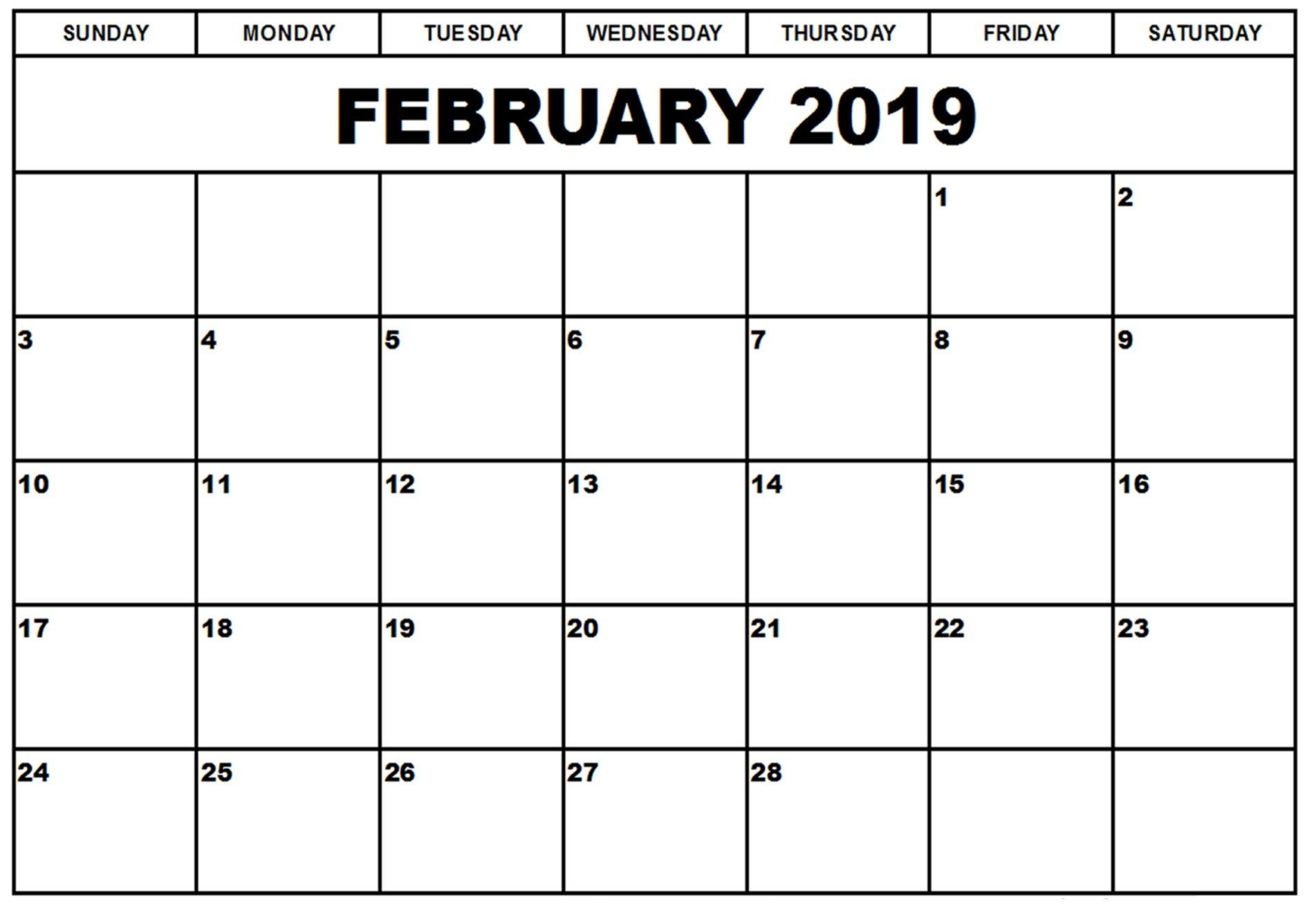 February 2019 Calendar Customized Free Printable February 2019