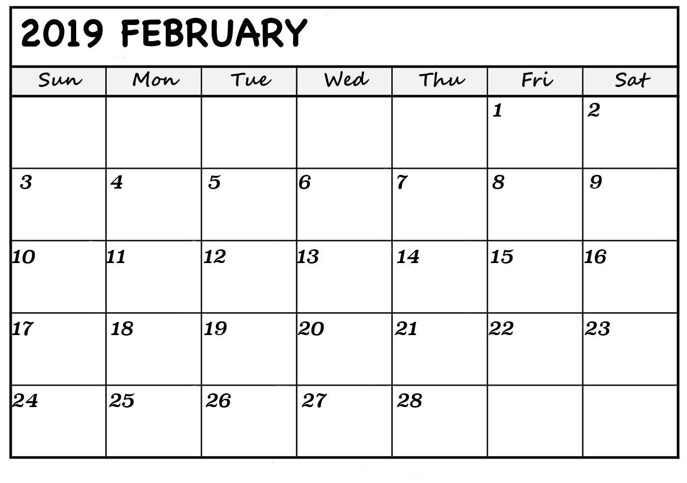 February 2019 Calendar Excel Free February 2019 Calendar Printable